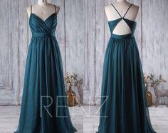 2017 Dark Green Bridesmaid Dress V Neck Ruched Wedding Dress