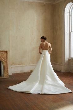Allison Webb bridal gown - Ivory blended dupioni fit to flare gown, crescent neckline with detachable watteau train. Cape Gown, Bridal Gowns, Wedding Dresses, Ivory, Neckline, Flare, Train, Spring, Fit