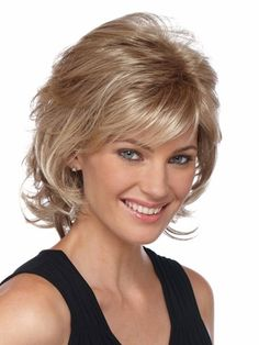 Angela is a medium length straight layered #syntheticwig with bangs. Buy only at wig shop canada.   #hairwigscanada   http://www.hairandbeautycanada.ca/angela-wig-1/