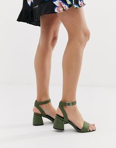 9e9c6de964e Glamorous green block heel sandals