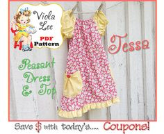 Girl's Peasant Dress Pattern Girl's by ViolaLeePatterns Peasant Dress Patterns, Toddler Dress Patterns, Girl Dress Patterns, Peasant Dresses, Boys Sewing Patterns, Sewing Ideas, Sewing Projects, Long Sleeve Short Dress, Sewing Clothes