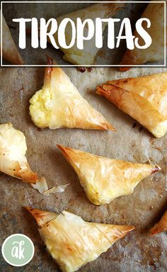 Tiropitas, cheese-and-egg filled phyllo triangles, are always a party favorite. What's more, they're not complicated and can be made ahead and stashed in the freezer — perfect to have on hand for entertaining. Tiropita Recipe, Bougatsa Recipe, Burek Recipe, Greek Appetizers, Finger Food Appetizers, Appetizer Recipes, Phyllo Appetizers, Finger Foods, Kitchens