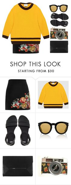 """""""burn, burn, like a star"""" by cute-e ❤ liked on Polyvore featuring River Island, Gucci, ASOS, Yves Saint Laurent, Coast and Dr. Martens"""