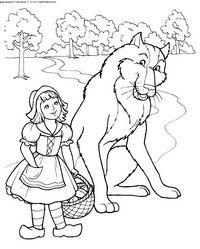 Rotkäppchen und der Wolf - Herunterladen und Drucken Färbung.  Coloring Coloring herunterladen Red Riding Hood, der Wolf Mädchen, laden Sie ein Bild von einem Märchen von Charles Perrault