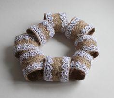 Burlap Napkin Ring with White Lace Edging - Set of 8. $25.00, via Etsy.