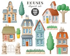 Hand Drawn Houses Clipart Town Buildings Clipart Png Etsy In 2021 House Clipart Clip Art How To Draw Hands