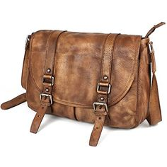 Ruil vintage style genuine buffalo leather messenger bag…