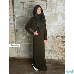 Batwing Abaya - Khaki Code: W15EDBA Everyday casual loose-fitting abaya in the on-trend military green. Paired with Soft Cotton Hijab - Charcoal Code: SCHIJCHAR Available online www.aabcollection.com and in-store at the @broadwaybradford and at the @eastshopping