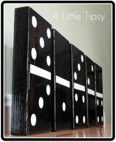 Dominos {Giant Syle} - A Little Tipsy - I am in the process of redecorating our play/game room. I decided to include some over-sized game p - Home Theater Setup, Home Theater Seating, Game Room Decor, Wall Decor, Resin Table, Room Shelves, Game Pieces, Family Games, Playroom