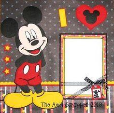 Mickey scrapbook layout using Mickey and Friends Cricut cartridge: