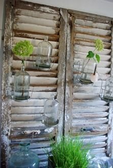 vintage shutters...great place to hang your plants.....