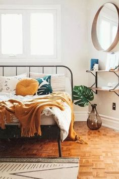 30 Boho chic Bedroom decor ideas and inspiration - rustic yellow color combo boh. 30 Boho chic Bedroom decor ideas and inspiration - rustic yellow c Boho Chic Bedroom, Home Decor Bedroom, Bedroom Wall, Master Bedroom, Bedroom Furniture, Bedroom Inspo, Bedroom Inspiration, Modern Bedroom, Warm Bedroom