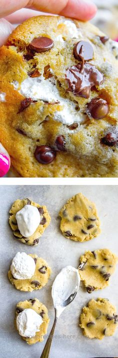 Classic chocolate chip cookies stuffed not with a marshmallow, but with marshmallow creme! It makes the the cookies so soft and chewy on the inside.