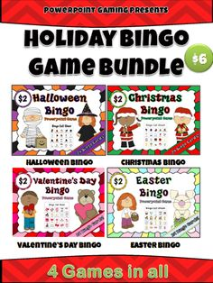 Here are 4 games for all your major celebrations and parties for the school year! This bundle contains 4 Powerpoint Bingo games for the 4 major holidays: Halloween, Christmas, Valentine's Day, and Easter. Aside from cutting out the Bingo cards, there is no prep involved. Simply cut out the Bingo cards (4 cards per sheet) and you're ready to go! Perfect for all your holiday parties and celebrations!  Save $2! It's like Buy 3 get 1free!