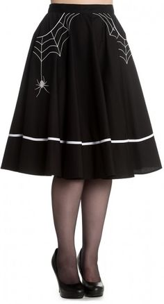 The Miss Muffet Skirt is an absolute work of genius. Spider webs accent the pockets, and one creepy crawly spider hangs down to frighten anyone unwanted away!