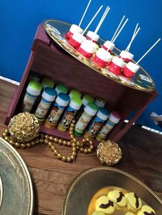 Treats and favors at a Jake and the Neverland Pirates boy birthday party!  See more party planning ideas at CatchMyParty.com!