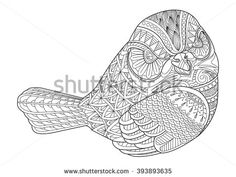 Drawing zentangle bird for coloring page, shirt design effect, tattoo, poster, print or t-shirt.