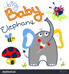 elephant with little friends in the forest vector cartoon