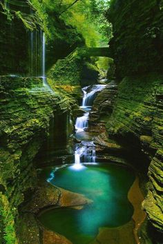 The magically beautiful Rainbow Falls section of the Gorge Trail of Watkins Glen State Park, near Seneca Lake in the Finger Lakes area of northwestern New York State.