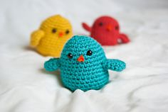 #Crochet baby her first best friend! Decorate her room with pastel colored birds.