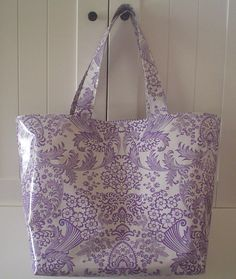Beth's Big Lilac Paradise Oilcloth Market Tote Bag. $35.00, via Etsy.