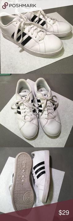 Adidas Neo Baseline Shoes US 7 Bought these online from Adidas and are moderately worn but in great condition. There are some light scuff marks as any white tennis shoe will get - could be washed and touched up to look almost perfect. Adidas Shoes Sneakers