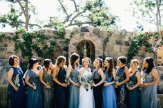 Stunning mismatched blue bridesmaid dresses - can't get enough of this look | Cami Jane Photography