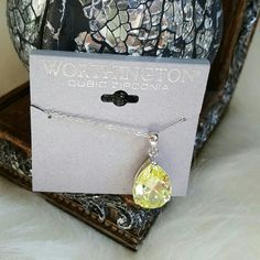 Worthington Cubic Zirconia Necklace Brand new with tags  Peridot green colored cubic zirconia with silver chain. Worthington Jewelry Necklaces