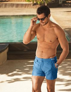 David Gandy and Marks & Spencer launched Swimwear Collection 2015 hair by Larry King David Gandy, Famous Male Models, Hot Guys, Beach Boy, Androgynous Models, Beachwear Fashion, Poses, Swim Shorts, Guys Shorts