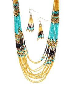 Look what I found on #zulily! Gold & Turquoise Seed Bead Bib Necklace & Drop Earrings #zulilyfinds