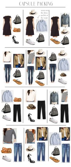 Create the Perfect Travel Capsule Wardrobe - Easy travel packing - The great thing about capsule packing is that all your clothes can multi-task and it really simplifies the whole process especially with regard to your shoes Mode Outfits, Casual Outfits, Fashion Outfits, Womens Fashion, Travel Outfits, Travel Wardrobe Summer, Summer Travel, Skirt Outfits, Casual Dresses