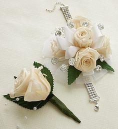 Infinite Rose Antique White Corsage & Boutonniere