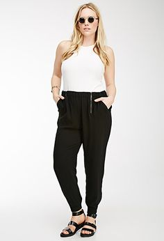 Classic Zipped Joggers | Forever 21 plus | black | plussize |