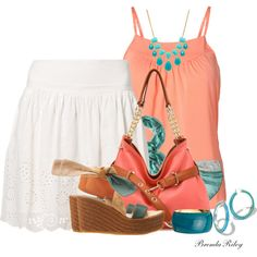 """Coral & Teal"" by brendariley-1 on Polyvore"