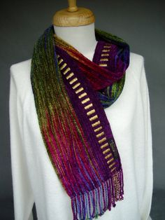 Handwoven Hand Dyed Scarf Rainbow w/ purple Rayon by SheWeaves