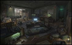 survivor's room from the zombies, jane lee on ArtStation at https://www.artstation.com/artwork/N45BP