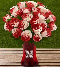 Nebraska Cornhusker Roses and Vase! Love this!