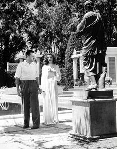 Katharine Hepburn and director George Cukor on the set of The Philadelphia Story (1940)