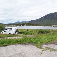A wild camping spot for campervans at Loch Cluanie in Scotland