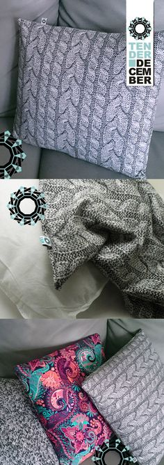 Gray cushion printed with a knitted stitch pattern, living room pillow, home decorations, ooak pillow, unique artwork, ooak original cushion Grey Cushions, Printed Cushions, Living Room Pillows, Sofa Pillows, Knit Patterns, Stitch Patterns, Bead Sewing, Try On, Babyshower