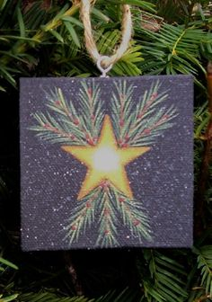 Primitive Star Canvas Holiday Ornament Handpainted