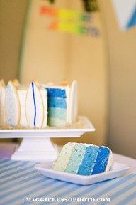 Surf party cake with blue rainbow effect