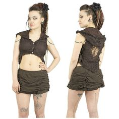 Steampunk brown lace hooded vest with belt on sides. Gypsy, tribal fusion, festival, trance, burlesque