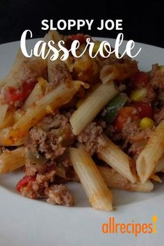 All the components of sloppy joes are mixed with penne pasta and Colby-Jack cheese creating a comfort food casserole for cold days. Best Potluck Dishes, Tasty Dishes, Sloppy Joe Casserole, Hotdish Recipes, Creamy Pasta Dishes, Best Comfort Food, Hamburger Recipes, Meals, Dinners