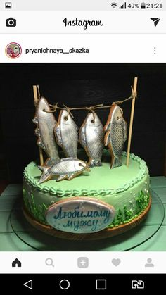Fishing fishing – About Hobby Sports Fancy Cakes, Cute Cakes, Fish Cake Birthday, Cakes For Boys, Cream Cake, Creative Cakes, Cake Creations, Cake Art, Cake Designs