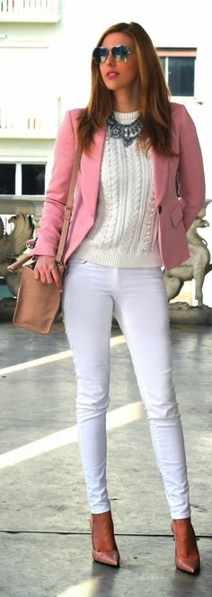 Pink blazer, white knit sweater, jeans. Street fall autumn women fashion outfit clothing stylish apparel @roressclothes closet ideas