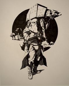 ArtStation - Snowtrooper - Ink on Paper, Guillaume Menuel