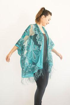 Turquoise Kimono Sheer Jacket Fringe Jacket  Boho Kimono by Urbe