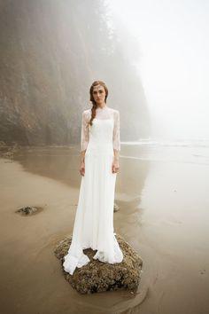Ivory 3/4 Sleeved Lace A-line Long Chiffon Beach Wedding Dress