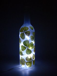Four Leaf Clover Table Lamp  Upcycled Wine Bottle by ZiniStudios